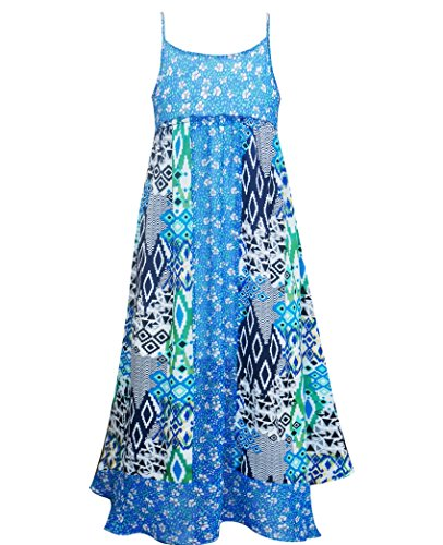 - Truly Me, Big Girls' Sleeveless Empire Waist Printed Maxi Dress, Size 7-16 (Navy Multi, 14)