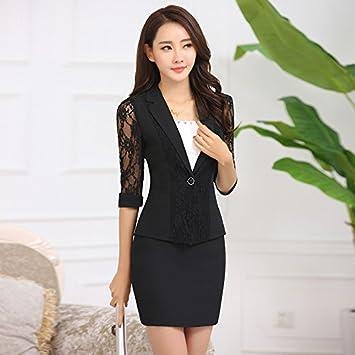 Robe style tailleur manches en dentelle noir femme | Morgan