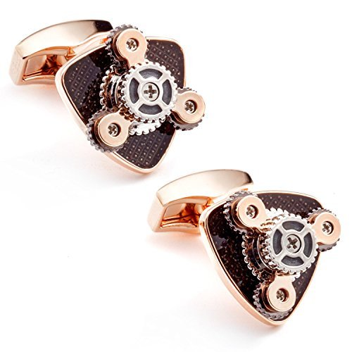 Tateossian Rotating Gear Trio Enamel Rose Gold Plated (Rose Gold Plated Cufflinks)