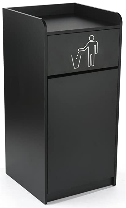 displays2go lckdegtrbk commercial garbage can - Commercial Garbage Cans