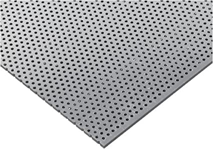 PVC (Polyvinyl Chloride) Perforated Sheet, Staggered Holes, Opaque Gray