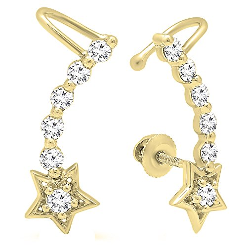 0.60 Carat (ctw) 10K Yellow Gold Round Cut White Diamond Ladies Journey Star shaped Climber Earrings by DazzlingRock Collection