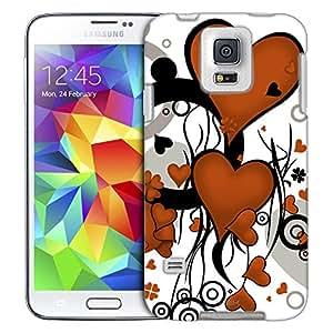 Samsung Galaxy S5 Case, Slim Fit Snap On Cover by Trek Orange Heart Clip Art Trans Case