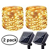 Solar Powered String Lights, 2 Pack 72ft 200 LED Solar Copper Wire Fairy Lights 8 Modes Waterproof Outdoor Garden String Lights for Home, Patio, Yard, Garden, Party Decoration (Warm White)