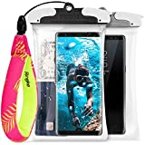 Ringke U-FIX Waterproof Case (2 Pack) & Floating Strap (1 Pack) Combo Universal Waterproof Float for Mobile Phones, GoPro, Digital Camera, and More