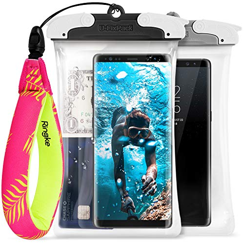 Ringke U-FIX Waterproof Case (2 Pack) & Floating Strap (1 Pack) Combo Universal Waterproof Float For All Devices: iPhone X, 8 Plus, Galaxy S9, S9 Plus, Google, Huawei, GoPro, Digital Camera, And More by Ringke