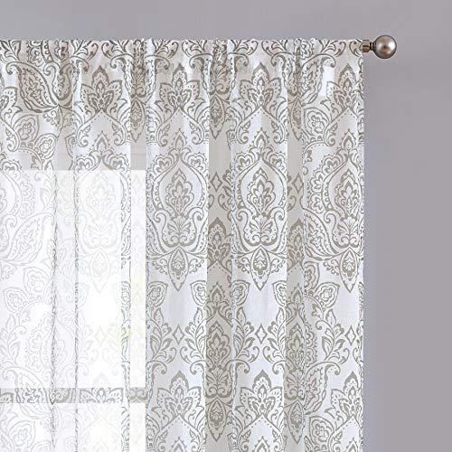 ECODECOR Damask Print Sheer Curtain 63 inch