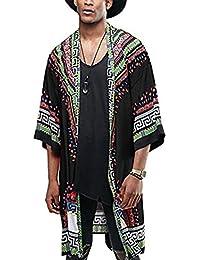 Mens African Dashiki Print Ruffle Shawl Collar Cardigan Lightweight Long Length Drape Cape