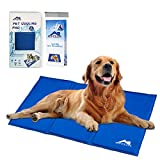 Soft Dog Bed - Whalek Cooling Mat Pressure Activated Chilly Dog Cat Bed 35.5 x 19.8 inch Gel Mat Blue with Pet Pooper Comb,Perfect for Floors, Couches, Car Seats, Pet Beds & Kennels,Crates and Beds for Large Dogs