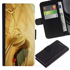 For Sony Xperia Z1 Compact / Z1 Mini / D5503,S-type® Headphones Phone Beige - Dibujo PU billetera de cuero Funda Case Caso de la piel de la bolsa protectora