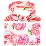 Newborn Baby Swaddle Blanket and Headband Value Set,Receiving Blankets, Pink Flower