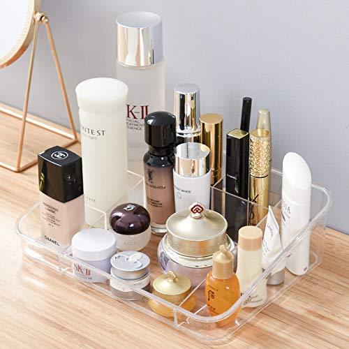 ARTALL Makeup Organizer Rack Cosmetic Storage Lipstick Holder Acrylic Texture Set of 2 Combination Case for Bathroom,Dresser Countertops, Desk Storage Holder, Clear