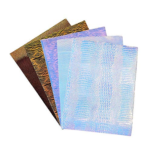 (5 Pcs Zebra Stripe and Snakeskin Faux Leather Sheets 9