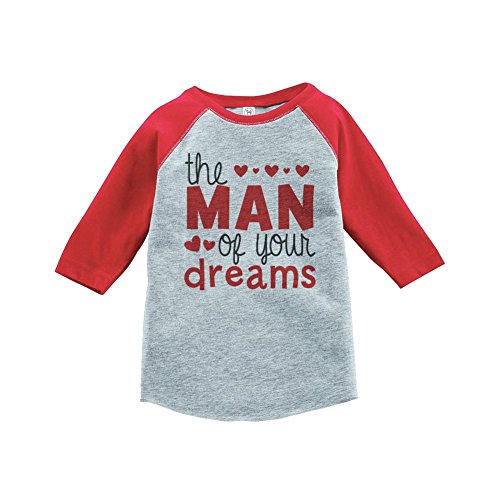 7 ate 9 Apparel Boy's Valentine's Day Toddler Vintage Baseball Tee 4T Red and Grey