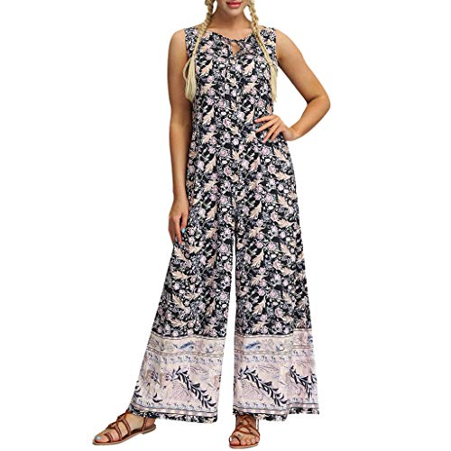 CCOOfhhc Women Loose Playsuit Yoga Gypsy Jogging Harem Pants Baggy Trousers Jumpsuit with Pocket Beige ()
