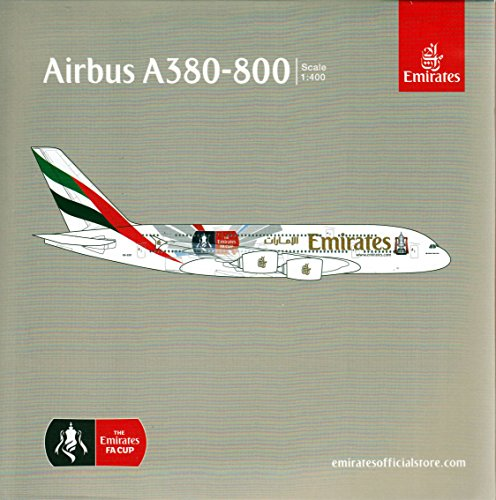 GeminiJets Emirates A380-800 'Emirates FA Cup' 1:400 Scale Airplane Model (Emirates 1 400)