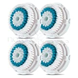Replacement Brush Head for Deep Pore Skin Cleansing. For All Skin Types with Enlarged Pores. Works on Face and Body. Compatible with Clarisonic MIA, MIA 2, ARIA, PRO and PLUS Cleansing Systems. (4-Pack Deep Pore Brush Head)