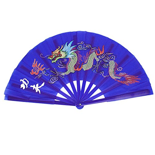 Figurines & Miniatures - Plastic Frame Dragon Printed Sports Folding Hand Fan Royal Blue - Miniatures People Figurines Figurines Miniatures Dragon White Hand Chinese Fabric Cooling Figur