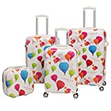 4 Piece Graphic Hot Air Balloon Pattern Spinner Lightweight Carry On Luggage Suitcases, Vibrant Aero Transport Design, Fashion, Hardside, Hardshell, Multi Compartment, Handle Travel Cases, Pink, White