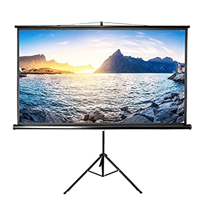 Projector Screen with Stand,Indoor Outdoor Projector Movie Screen 100 inch Diagonal 16:9 HD Projection (Wrinkle-Free, Easy to Install and Clean)