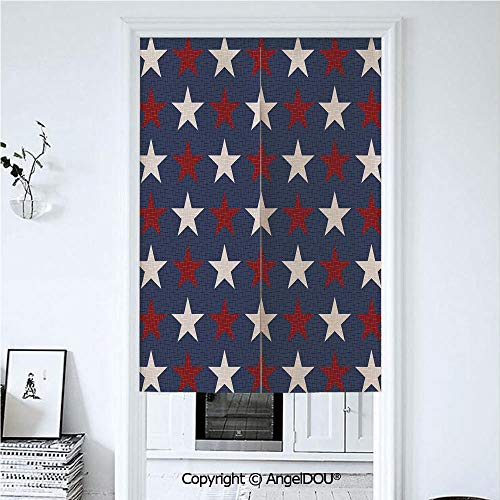 Printed Valance State Curtain - AngelDOU Primitive Country Decor Cotton Linen Printed Customized Doorway Curtain Symmetric Stars United States Independence Freedom Theme Decorative Privacy Drape Valance and Decora 33.5x59 inches