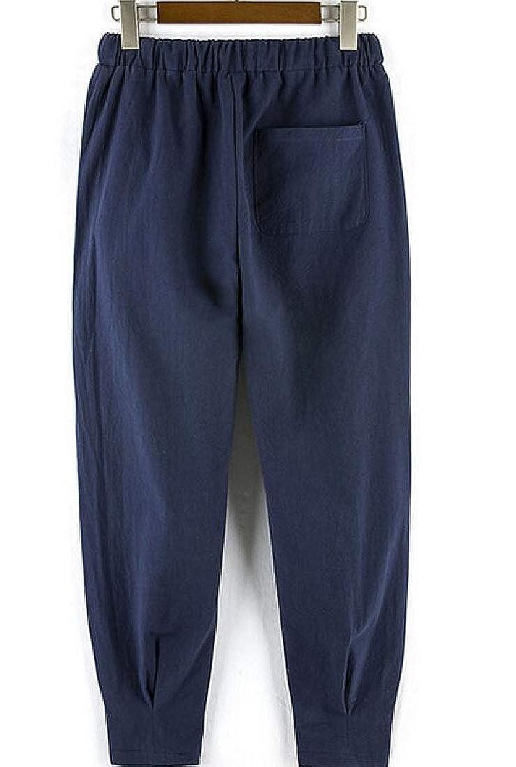 Cromoncent Mens Casual Cotton Linen Elastic Waist Sport Harem Straight Leg Pants