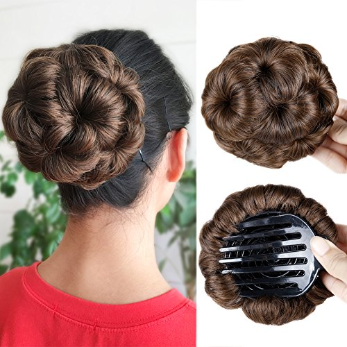 Hair Chignon Bun Artificial Hairpiece with Tress Claw In Ponytail Hair Extension