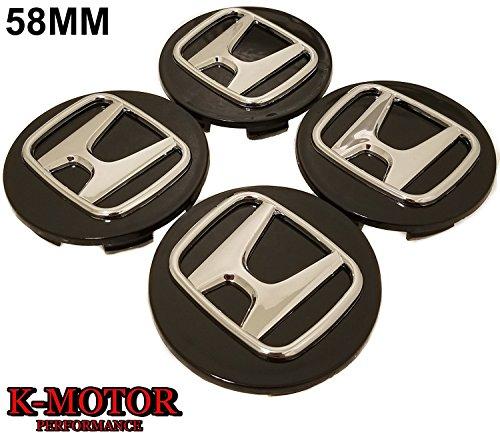 K-MOTOR 58MM x4 CENTER CAPS HUB CAPS FOR CRV CIVIC DEL SOL,ACCORD INTEGRA CRX -