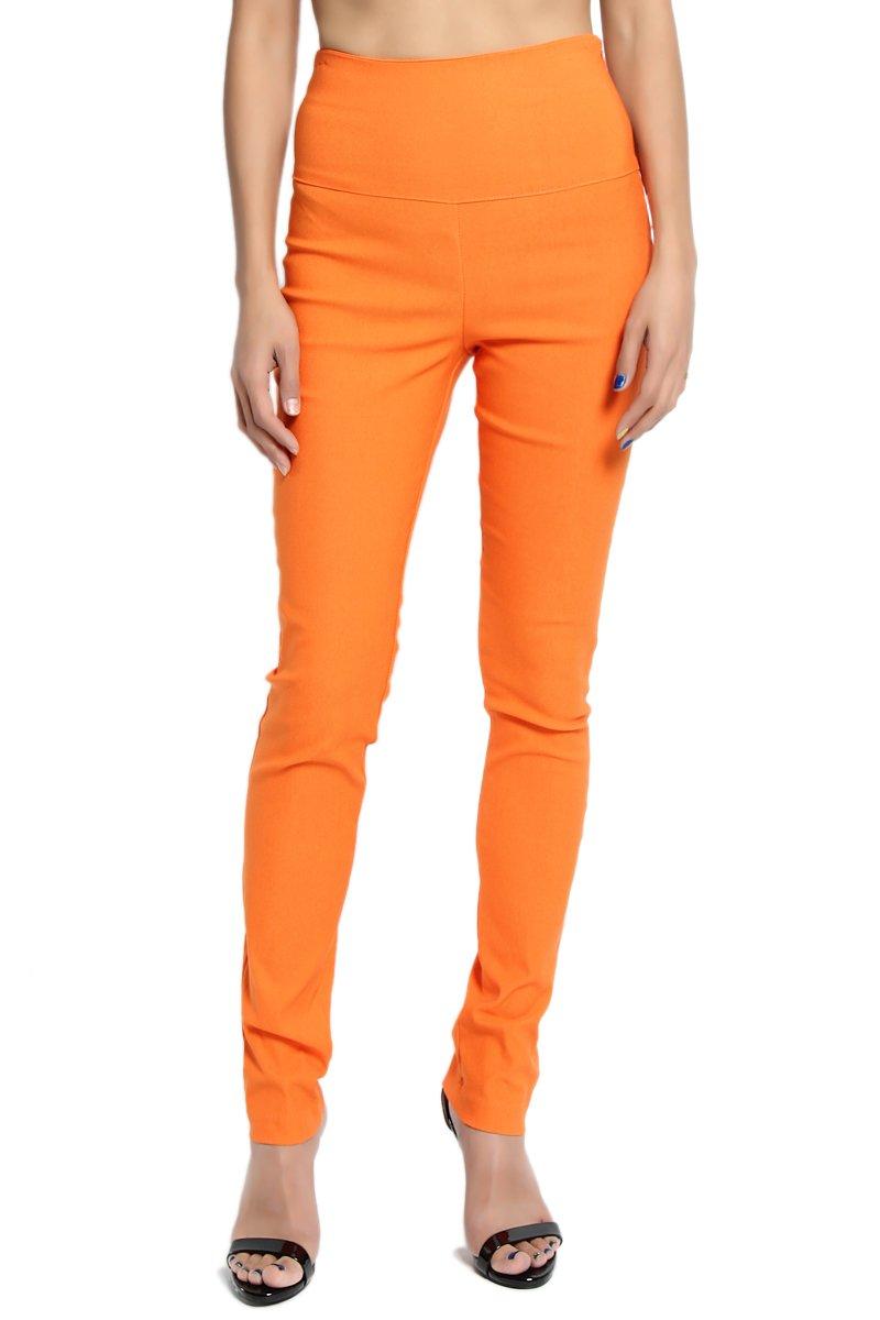 TheMogan Women's high Waisted Stretch Slim Skinny Trousers Orange S