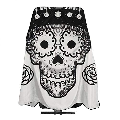 Funny Halloween Mexican Hat Style Skull Hairdresser Hair Stylist Haircut Cover Salon Barbering Cape Shop Accessories Styling Cutting Kit Professional Pare Estilista Barbero Adults Capa -