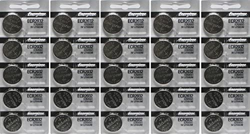 25 Energizer 2032 Battery CR2032 Lithium 3v (5 Packs of five)