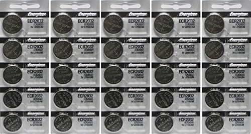25 Energizer 2032 Battery CR2032 Lithium 3v (5 Packs of 5)