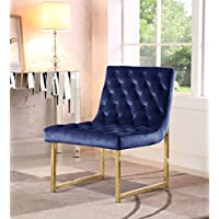 Iconic Home Moriah Accent Chair Sleek Elegant Tufted Velvet Upholstery Plush Cushion Brass Finished Polished Metal Frame, Contemporary Modern, Navy