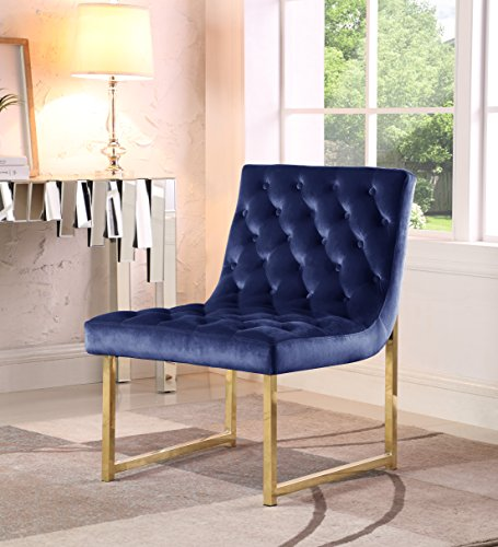 Iconic Home Moriah Accent Chair Sleek Elegant Tufted Velvet Upholstery Plush Cushion Brass Finished Polished Metal Frame, Contemporary Modern, Navy - THE BEST SEAT IN THE HOUSE (or OFFICE) - Modern design abounds on the Moriah Club Chair - From its gently curved seat to sleek, tufted velvet upholstery and a polished brass-finished, stainless steel frame, every detail makes this an unmistakable piece of fashionable design - This beautiful accent chair is perfect for your living room, den, lounge, bedroom or office - Use singly or as a pair to define a conversation area FABRIC: LUXURIOUS VELVET UPHOLSTERY - Expertly upholstered in premium quality velvet fabric - The distinct plush of this velvet creates a rich and luxurious feel DESIGN: STYLISH MODERN CONTEMPORARY LOOK - Fashion forward contemporary design creates a bold statement making piece with sleek and clean line that is as much as art to behold as it is furniture to be used - living-room-furniture, living-room, accent-chairs - 516f 8Eab2L -