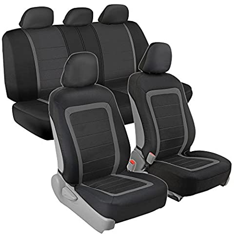 Advanced Performance Car Seat Covers - Instant Install Sideless Fronts + Full Interior Set for Auto (Black / Charcoal (2012 Honda Fit Seat Covers)