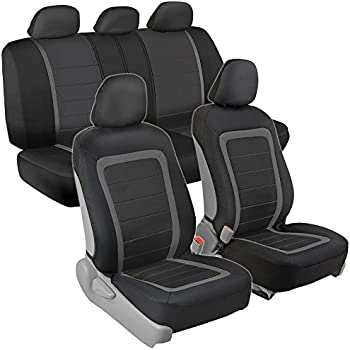 Advanced Performance Car Seat Covers - Instant Install Sideless Fronts + Full Interior Set for Auto (Black / Charcoal Gray)