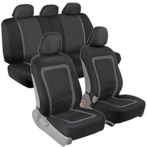 Advanced Performance Car Seat Covers - Instant Install Sideless Fronts + Full Interior Set for Auto (Black / Charcoal Gray) (Chevy Equinox Car Seat Covers)