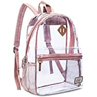Clear Backpack Transparent School Bag PVC Casual Daypack Travel Lightweight Bookbag See-Through Rucksack for Students/Boys / Girls (Rose Gold)