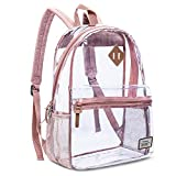 Clear Backpack Transparent Casual Daypack Travel Lightweight Bookbag See-Through Rucksack for Men/Women(Rose Gold)