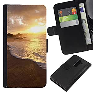 All Phone Most Case / Oferta Especial Cáscara Funda de cuero Monedero Cubierta de proteccion Caso / Wallet Case for LG G2 D800 // Nature Water Sunset