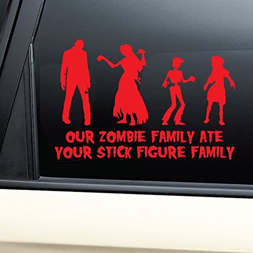 [Our Zombie Family Ate Your Stick Figure Family Vinyl Decal Laptop Car Truck Bumper Window Sticker -] (Zombie Family Decals)