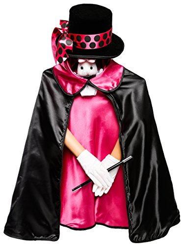 Kids Pink 6pc Magician Costume Set w/Storage -