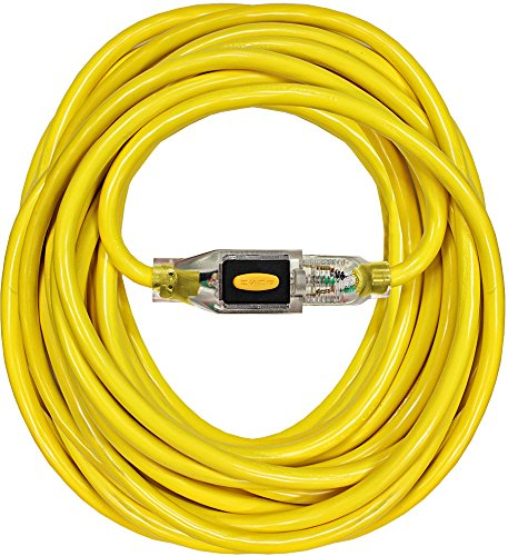 Cord Locking - Serpentec 630-123050L30 Stay Plugged Lighted Locking Plug Indoor/Outdoor Extension Cord, 12/3 Gauge 50 ft., Yellow