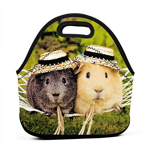 Ksipop Cute Hamster Guinea Pig Reusable Lunch Bag Waterproof Picnic Tote Insulated Cooler Zipper Box ()