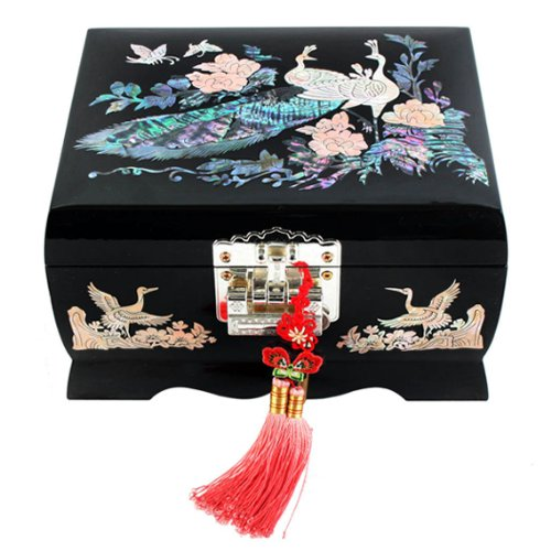 - Mother of Pearl Peacock Design Music Wooden Black Bird Girls Jewelry Mirror Case Trinket Keepsake Treasure Gift Musical Asian Lacquer Box Case Chest Organizer