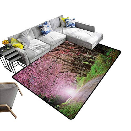Office Chair Floor Mat Foot Pad Japanese Garden,National Park in Chiang Mai Cherry Blossoms Spring Picture,Fuchsia Brown Fern Green 80