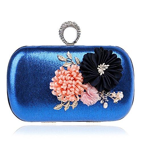 Del Crossbody Blue Simple Bolso De A Mano Flores color Silver Janefuj Las Hecho Hombro Noche Embrague qwBHztFxZ