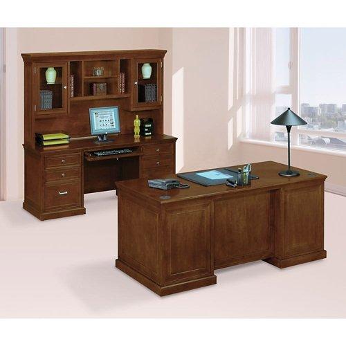 National Office Furniture Cherry Desk (Statesman Three Piece Office Suite Light Chestnut Cherry)