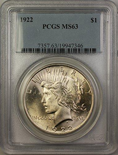 1922 Peace Silver Dollar Coin (ABR11-B) $1 MS-63 PCGS