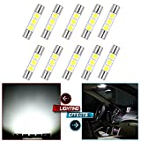 Ts Vanity CCIYU 10 Pack White LED 28mm-31mm 5050 3SMD Fuse Vanity Mirror Light Bulb/ 3 5050 SMD Festoon 6614 Fuse LED Light 6641 TS-14V1C For Car Interior Sun Visor Vanity Mirror Light